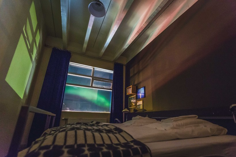 The Northern Lights seen from a room at the hostel.