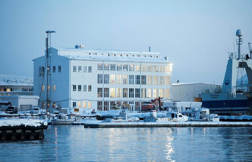 The renovated Marshall building seen from the harbour. Artist Ólafur ...