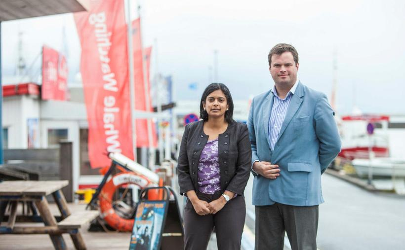 Kevin Foster and Rupa Huq in Iceland.