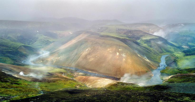 There is constant steam rising up from Hveradalir geothermal area ...