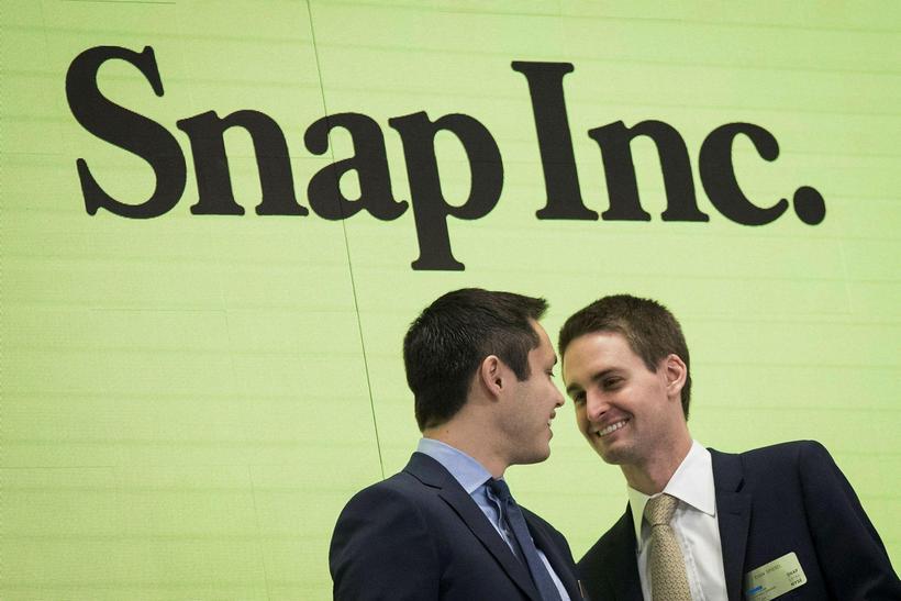 Bobby Murphy, yfirmaður tæknimála hjá Snapchat og Evan Spiegel, stofnandi ...