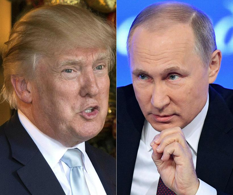 Donald Trump Bandaríkjaforseti og Pútín Rússlandsforseti.