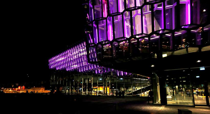 Harpa is often lit up in colours to show support …