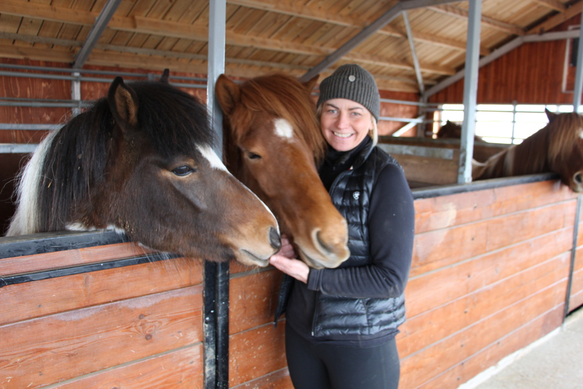 Hrafnhildur Guðmundsdóttir along with two four year old mares.