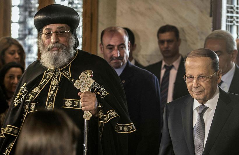 Tawadros II, leiðtogi koptísku kirkjunnar, var nýfarinn úr kirkjunni þegar ...