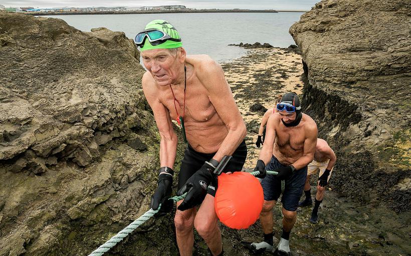 Haukur Bergssteinsson has now made 1500 swims across the Nauthólsvík ...