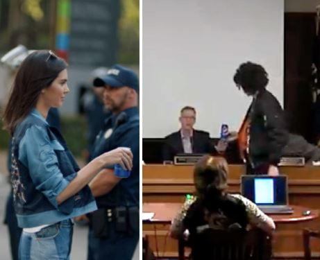 Hér sést hvernig Jenner og Enrique rétta bæði yfirvaldi Pepsi-dós.