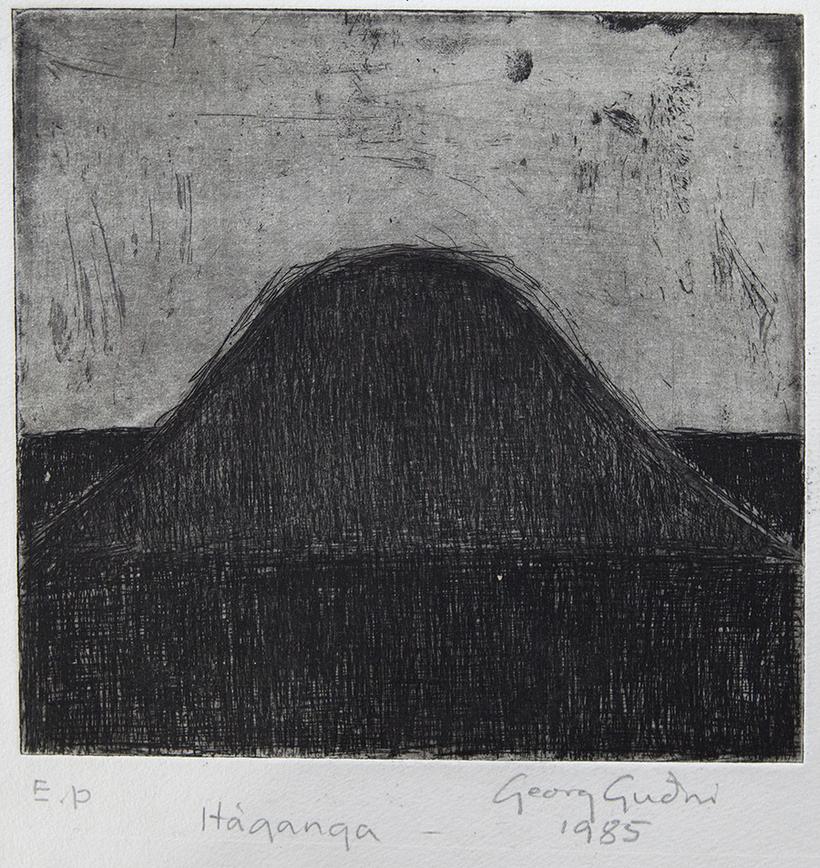Georg Guðni, Mt. Háganga, 1985. Line etching. Sheet (irregular): 7 ...