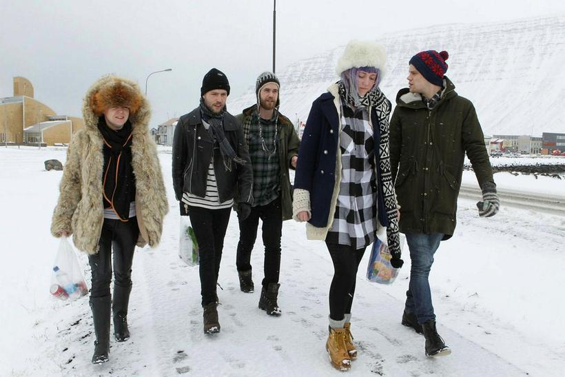 Guests attending the popular Aldrei fór ég suður music festival ...