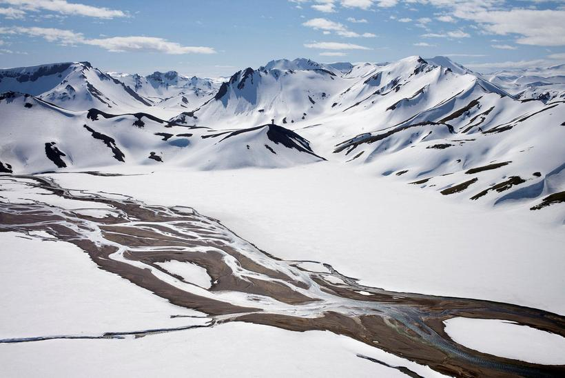 Landmannalaugar covered in snow