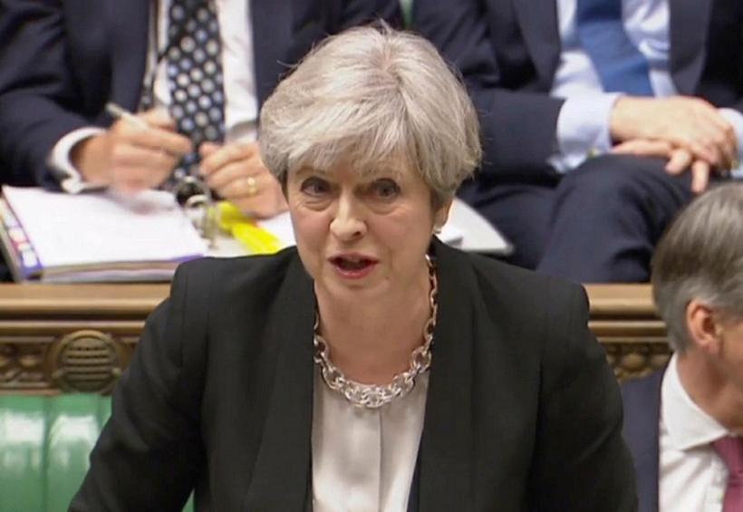 Theresa May, forsætisráðherra Bretlands, í breska þinginu í dag.