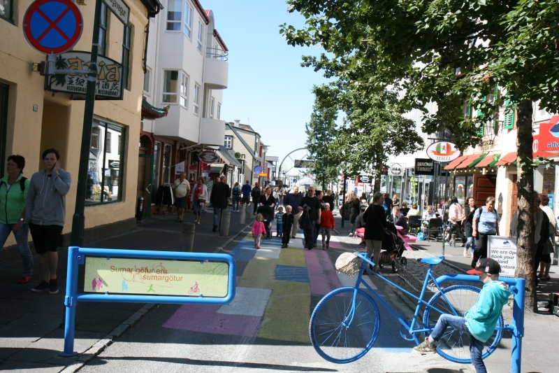 Some streets have been painted in bright colours last summers.
