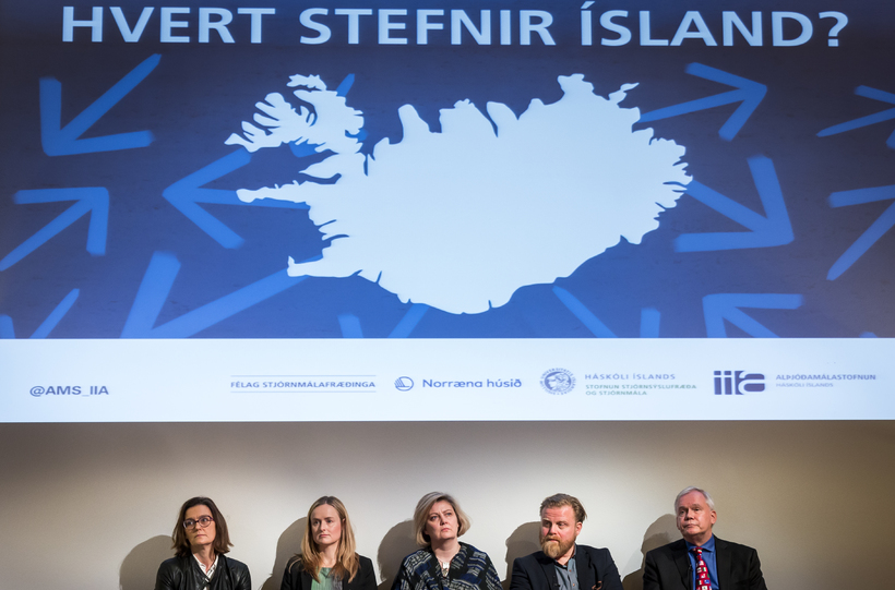 Salvör Nordal, Hulda Þórisdóttir, Kristrún Heimisdóttir, Ásgeir Jónsson og Hannes ...