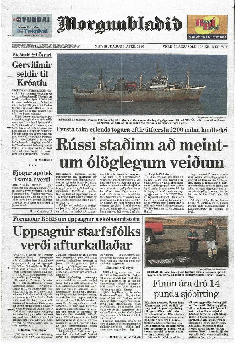 Eftirför rússneska skipsins mátti sjá á baksíðu Morgunblaðsins.