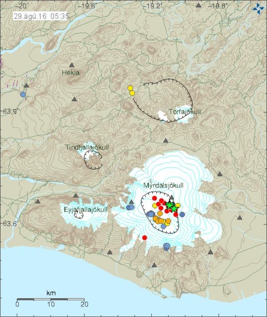 Strong tremors under Mýrdalsjökull glacier last night.