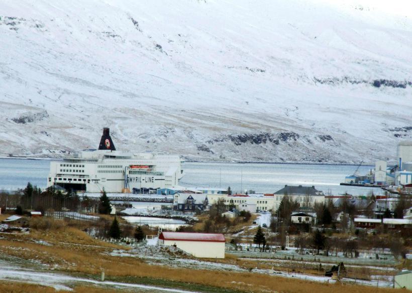 Norræna ferry docks at Seyðisfjörður, East Iceland.