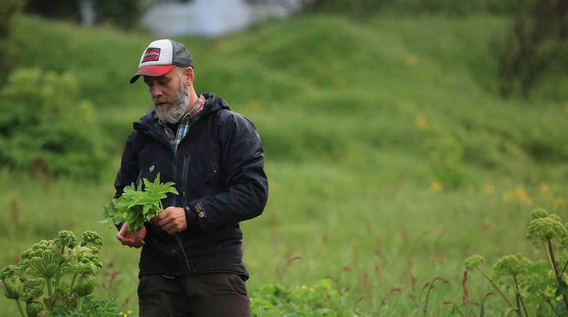 Hákon picking fresh herbs for dinner.