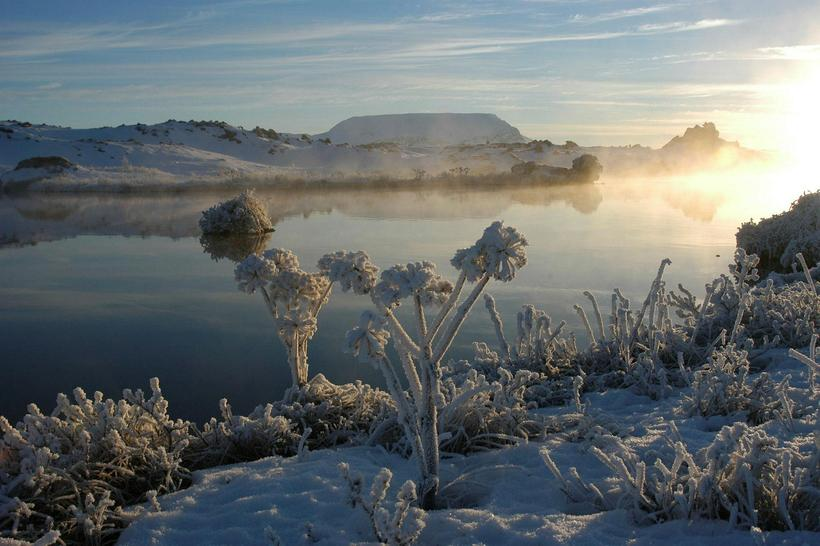 Mývatn turns into a wonderland in winter.