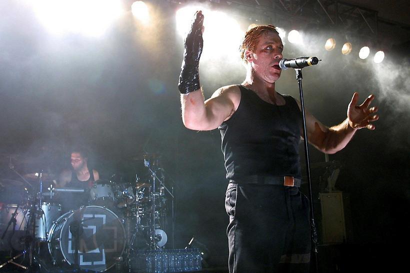 German heavy metal band Rammstein performing at Laugardalshöll in 2015.