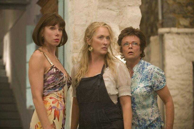 Christine Baranski, Meryl Streep og Julie Walters í kvikmyndinni Mamma …