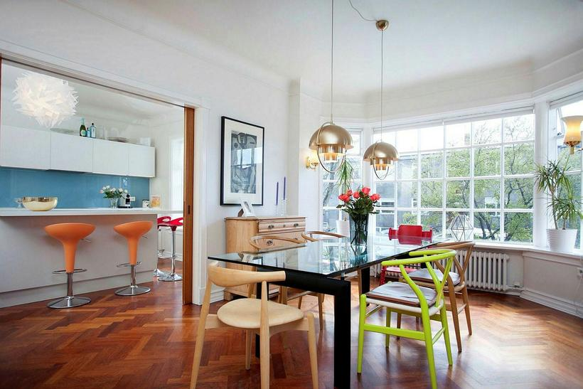 The dining room is next to the kitchen, which can …