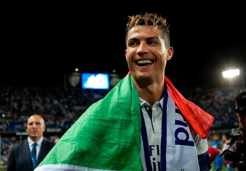 Cristiano Ronaldo fagnar Spánarmeistaratitlinum fyrr á árinu.