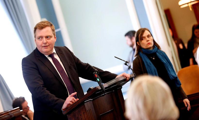 Sigmundur Davíð Gunnlaugsson, þingmaður Framsóknarflokksins, í ræðustól Alþingis.