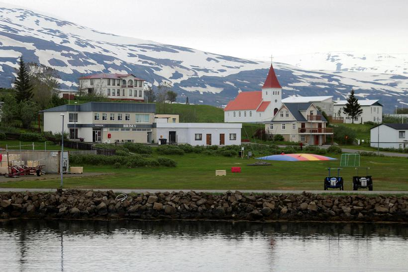 There's a small village on Hrísey Island.