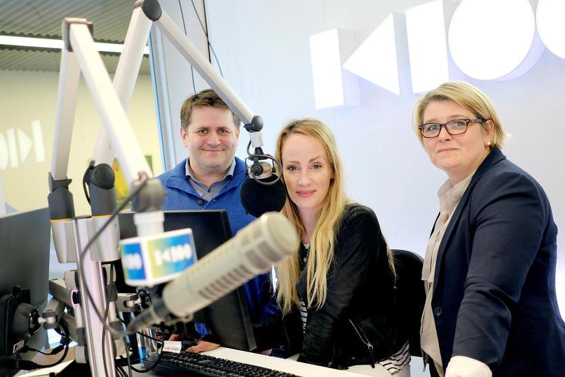 Radio hosts Auðun Georg Ólafsson, Sigríður Elva Vilhjálmsdóttir and Hulda …