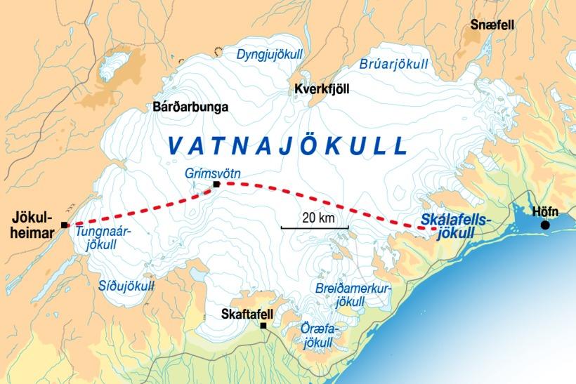 Hér má sjá leiðina sem hópurinn tekur yfir Vatnajökul.