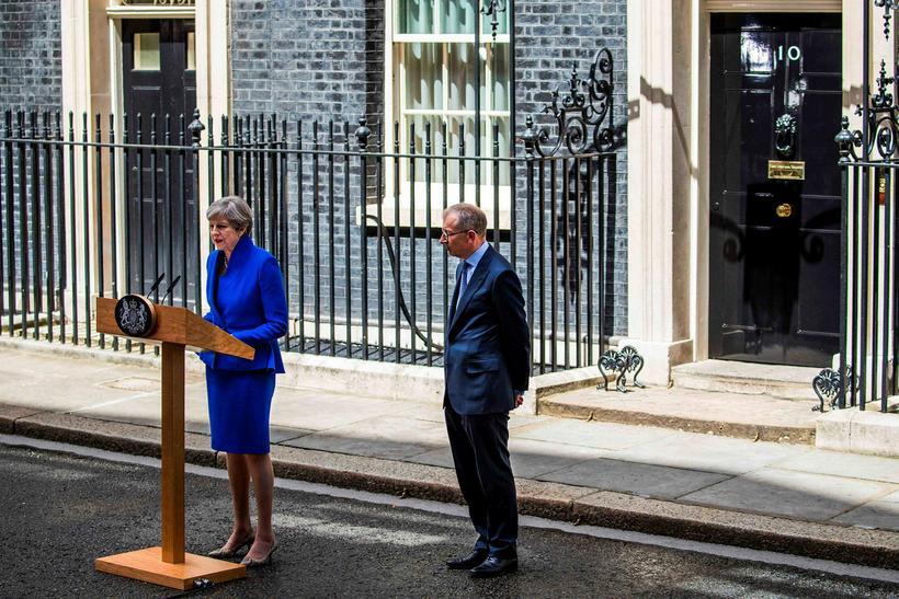 Theresa May og eiginmaður hennar Philip.