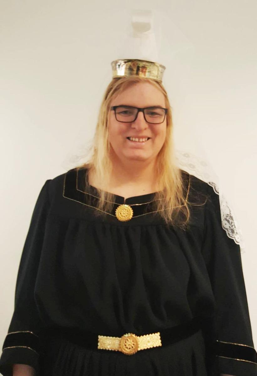 Eva Águsta wearing traditional Skautbúningur, a national costume worn for ...