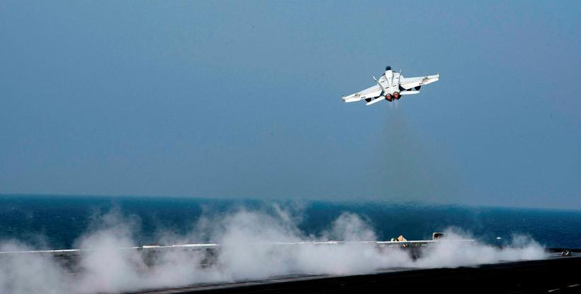 Herþota af gerðinni F/A-18E Super Hornet sem skaut niður sýrlenska ...