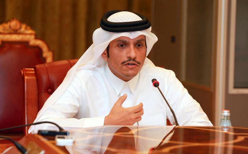 Mohammed bin Abdulrahman al-Thani utanríkisráðherra á blaðamannafundi í Doha.