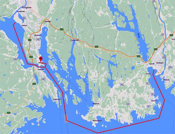 Skipið siglir einn til tvo túra á sólarhring milli Herøya ...
