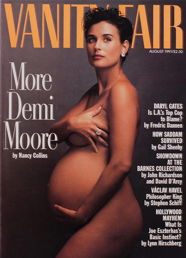Demi Moore var ólétt á forsíðu Vanity Fair árið 1991.