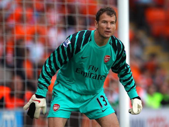 Jens Lehmann í leik með Arsenal, en hann lék lengi …