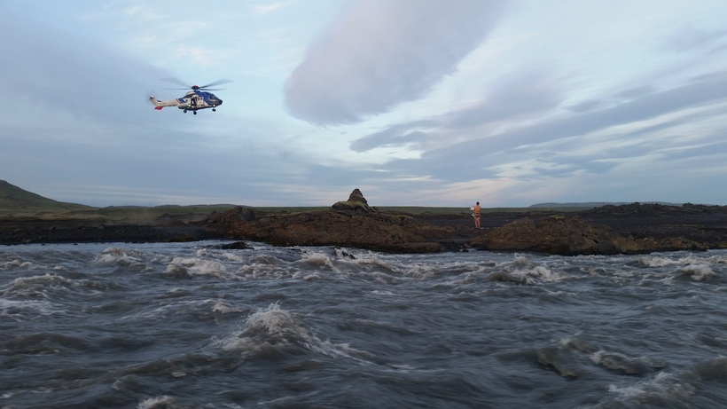 The national coastgurd helicopter on its way to rescue the …