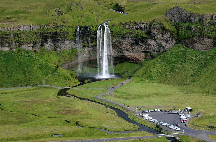 Seljalandsfoss waterfall in South Iceland.