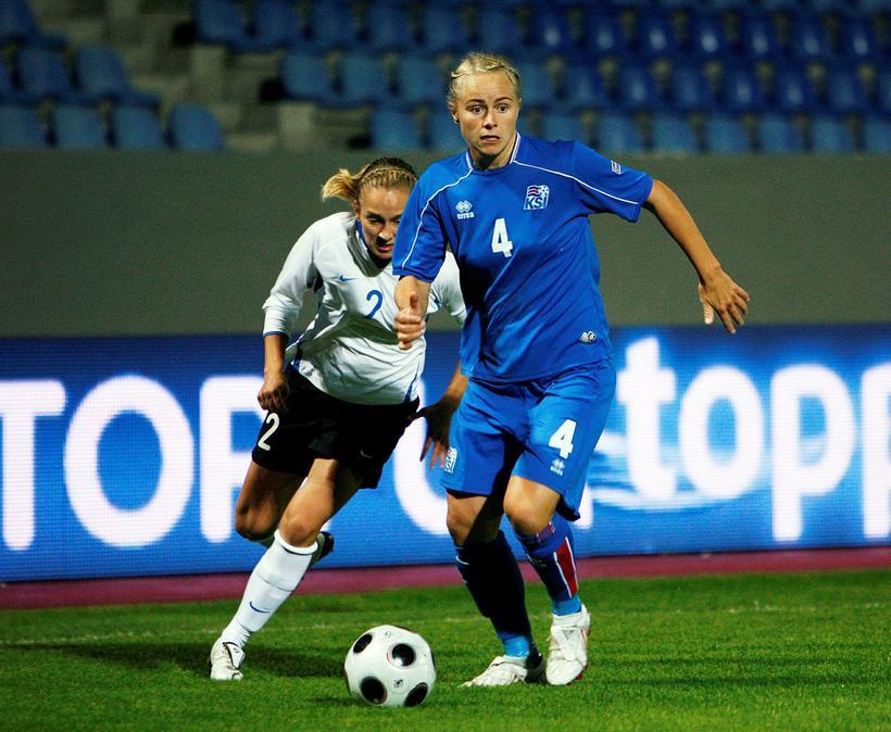 Edda Garðarsdóttir í leik Íslands og Eistlands árið 2009.