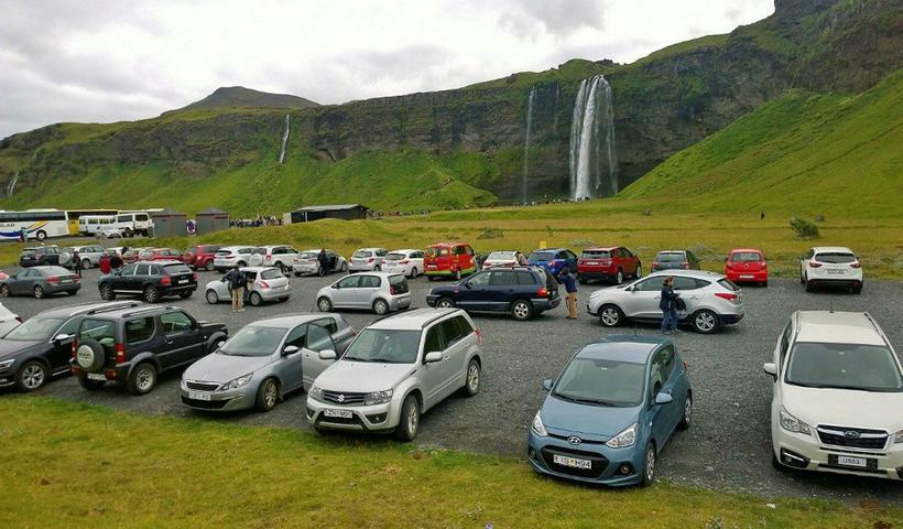 The car park at Seljalandsfoss.