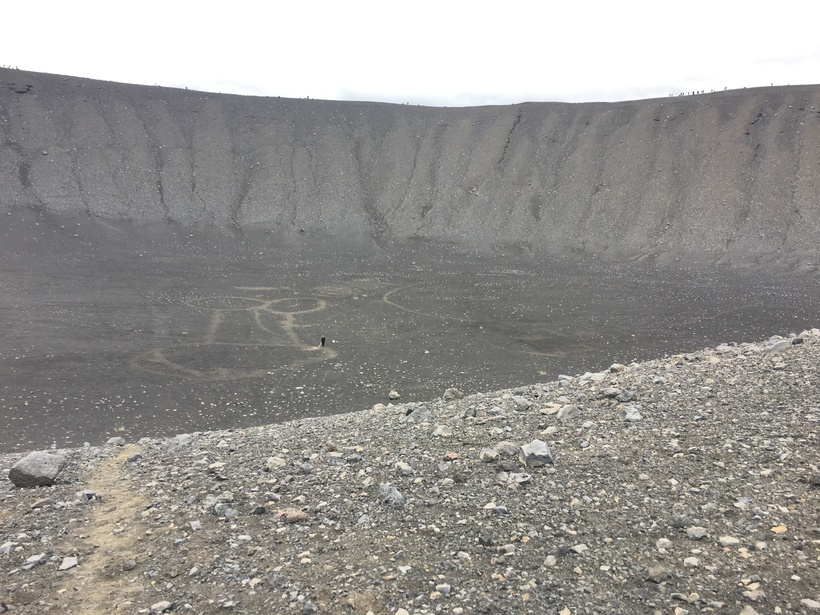 Drawing images into the crater is a popular pastime it …