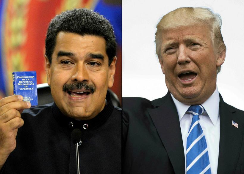 Samsett mynd af Trump og Maduro.