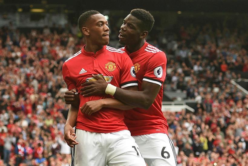Paul Pogba og Anthony Martial fagna í dag.