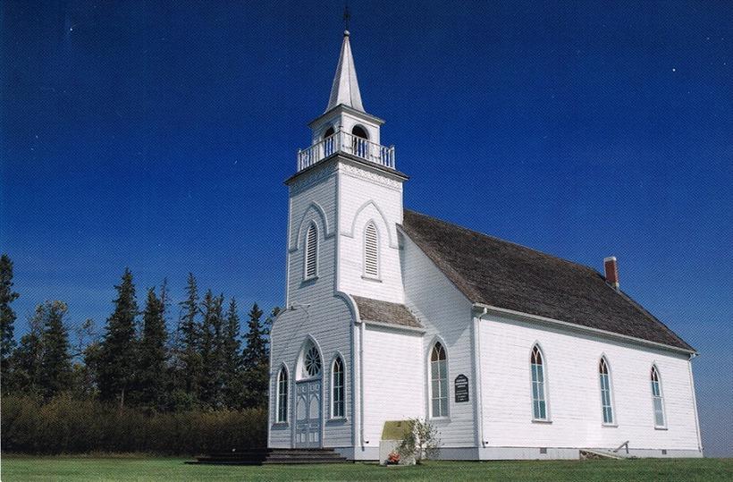 Grund Frelsiskirkjan í smábænum Baldur í Manitoba er talin ein ...