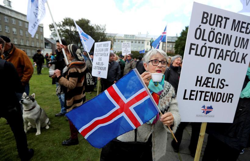 Frá mótmælum Þjóðfylkingarinnar á Austurvelli.