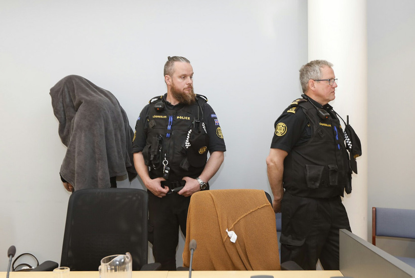 Thomas Møller Olsen at the Reykjanes district court yesterday.