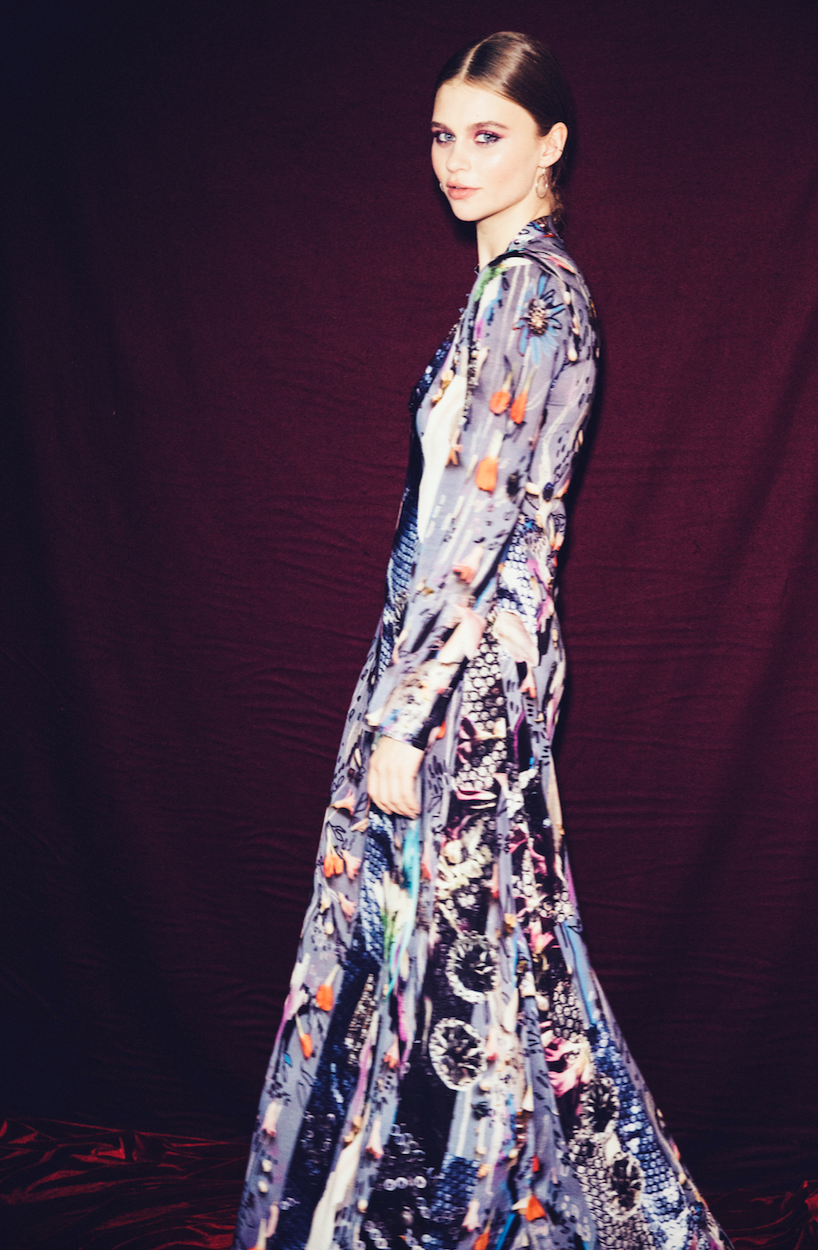 A full-length silk print dress by Hildur Yeoman for the ...