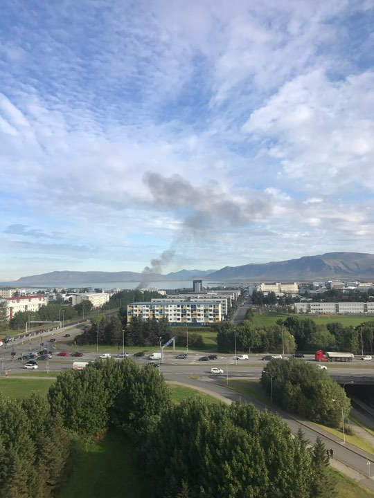 Smoke from the incident in Reykjavik this morning.