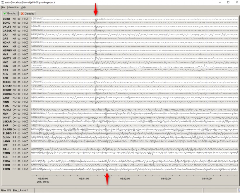 A screenshot showing the detection of an earthquake in North ...